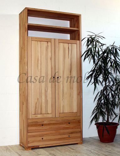 Massivholz Dielenschrank 2türig CONTRA 89x200x33cm mit Schubladen, Wäscheschrank, Garderobenschrank – Bild 2