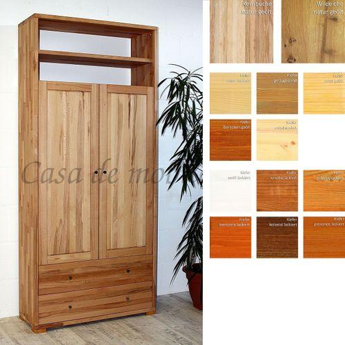 Massivholz Dielenschrank 2türig CONTRA 89x200x33cm mit Schubladen, Wäscheschrank, Garderobenschrank – Bild 1
