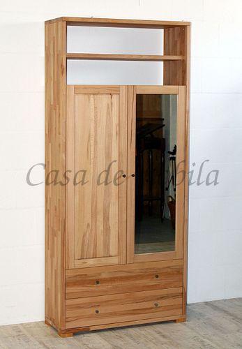 Massivholz Dielenschrank 2türig CONTRA 89x200x33cm mit Spiegel und Schubladen, Wäscheschrank Garderobenschrank – Bild 2