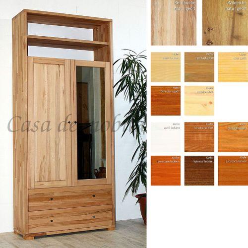 Massivholz Dielenschrank 2türig CONTRA 89x200x33cm mit Spiegel und Schubladen, Wäscheschrank Garderobenschrank – Bild 1