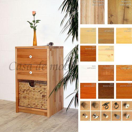 Massivholz Standregal CONTRA 47x84x33cm mit Korb, Schuhregal Flurkommode Dielenschrank – Bild 1