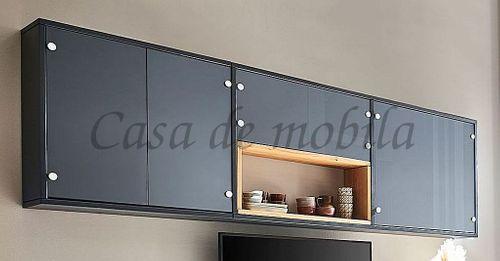 Hängeschrank CONTRA 262x82x21cm Massivholz Hängevitrine Kiefer grau lackiert – Bild 1