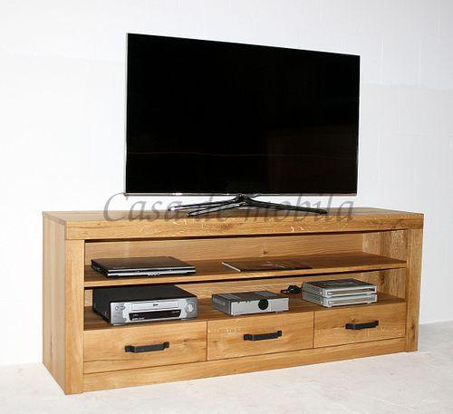 TV-Kommode 165x65x42cm Wildeiche Lowboard natur geölt – Bild 1