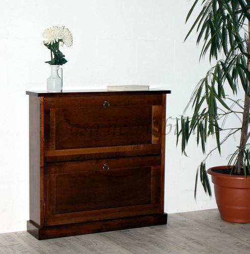 Schuhkommode DECOR 76x75x20cm Massivholz nussbaumfarben Schuhkipper Schuhschrank – Bild 3