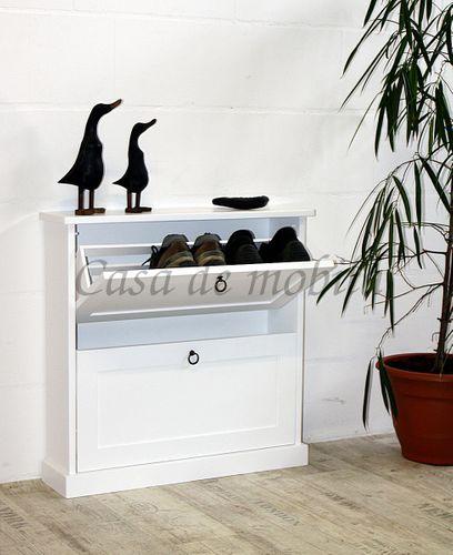 Schuhkommode DECOR 76x75x20cm Massivholz weiß Schuhkipper Schuhschrank – Bild 1