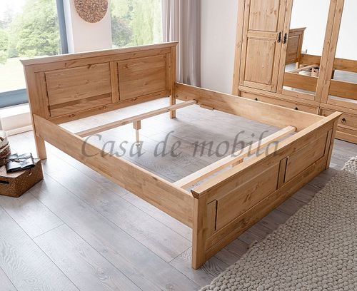 Doppelbett MEXICAN-STIL 180x200 Kiefer Massivholz gelaugt geölt – Bild 2