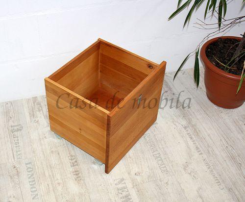 Spielzeug-Kiste CAMILLA 43x39x39cm Kernbuche Truhe auf Rollen Massivholz natur geölt – Bild 3