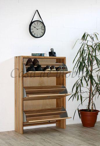 Massivholz Schuhschrank WILDEICHE Bianco Schuhkipper Schuhkommode massiv Holz – Bild 4