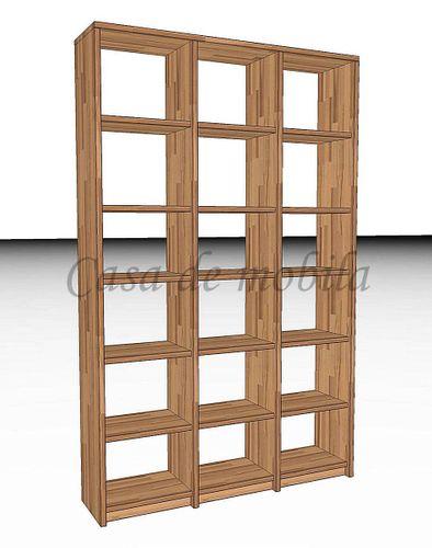Bücherregal CONTRA 136x219x33cm Kernbuche Massivholz Büroregal Systemregal Standregal geölt – Bild 1