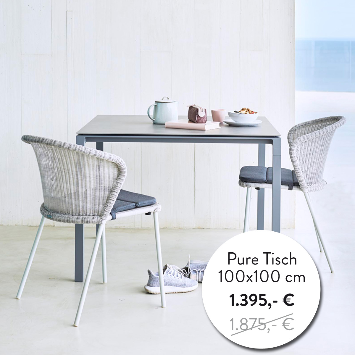 Pure Esstisch 100x100 cm
