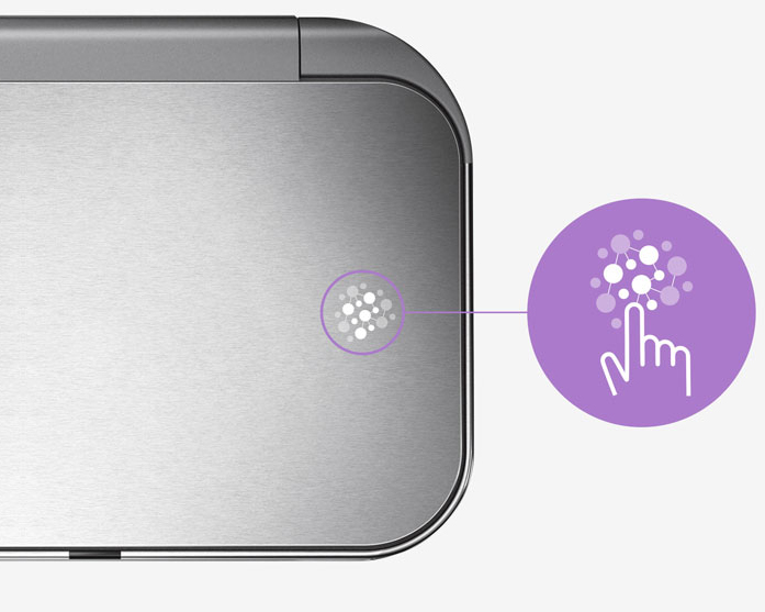 Sensor Mülleimer mit besonderer Oberfläche