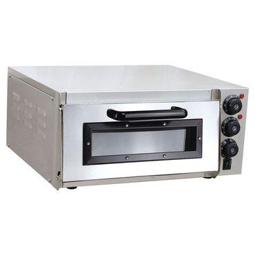 Pizzaofen elektrisch aus Edelstahl mit Pizzastein 1 Kammer 2000 Watt Steinbackofen mit Schamottstein – Bild 1
