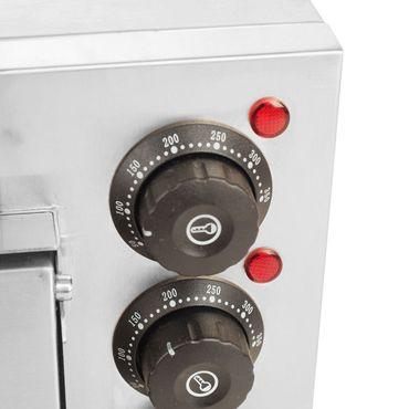 Pizzaofen elektrisch 3000 Watt Edelstahl mit 2 Kammern Steinbackofen mit Schamottstein – Bild 3