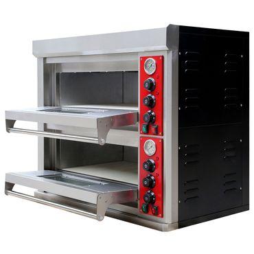Pizzaofen Edelstahl 2 Kammern 400 V für die Gastronomie  Ober- Unterhitze – Bild 1