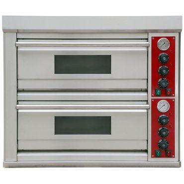 Pizzaofen Edelstahl 2 Kammern 400 V für die Gastronomie  Ober- Unterhitze – Bild 2