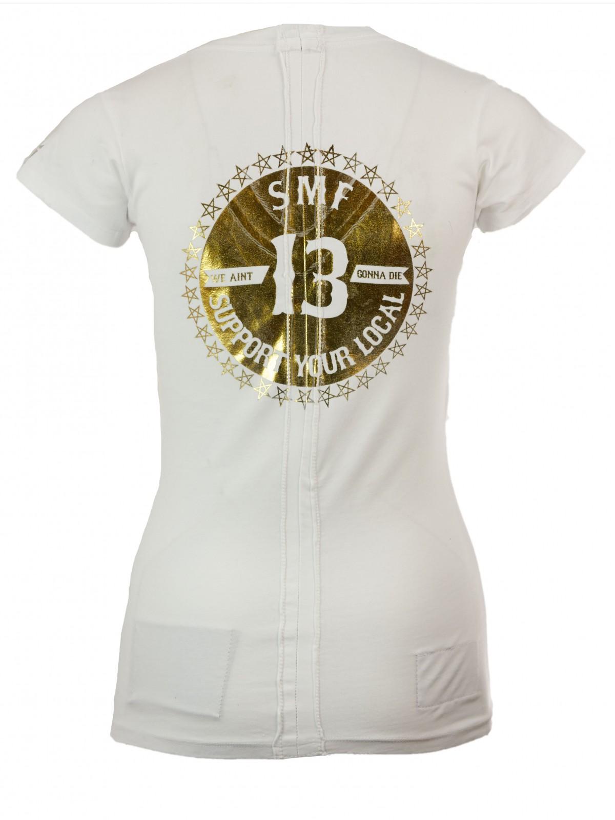 V-Neck T-Shirt aus Baumwoll-Stretch