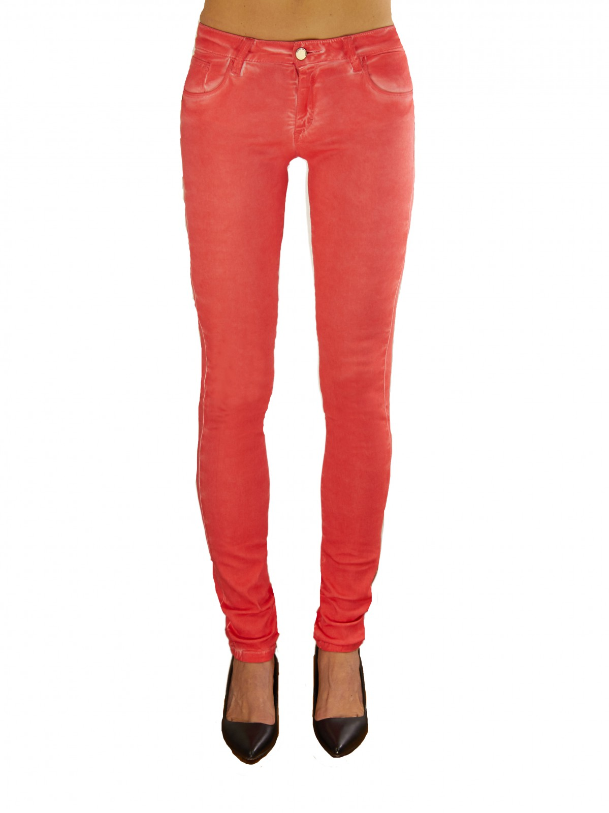 Box in Gum Mid Rise Jeans in Coral