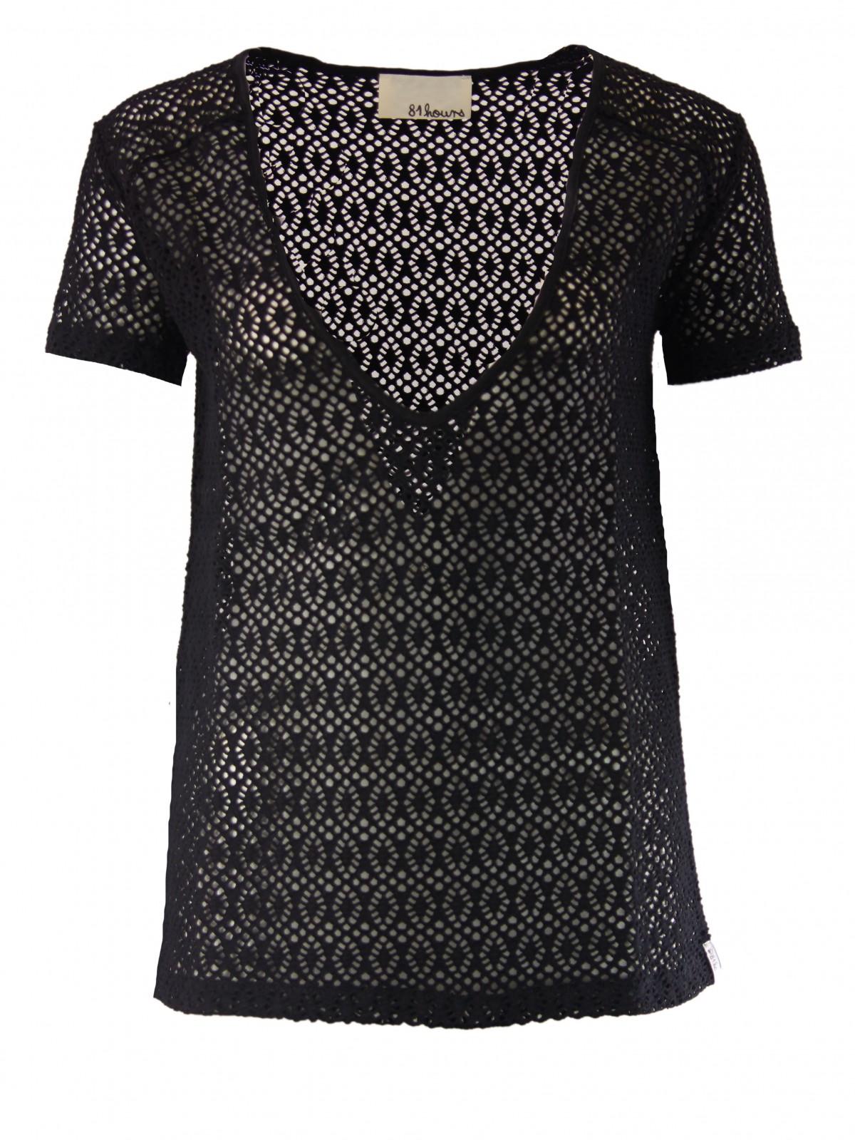 Janne Spitzen T-Shirt in Schwarz