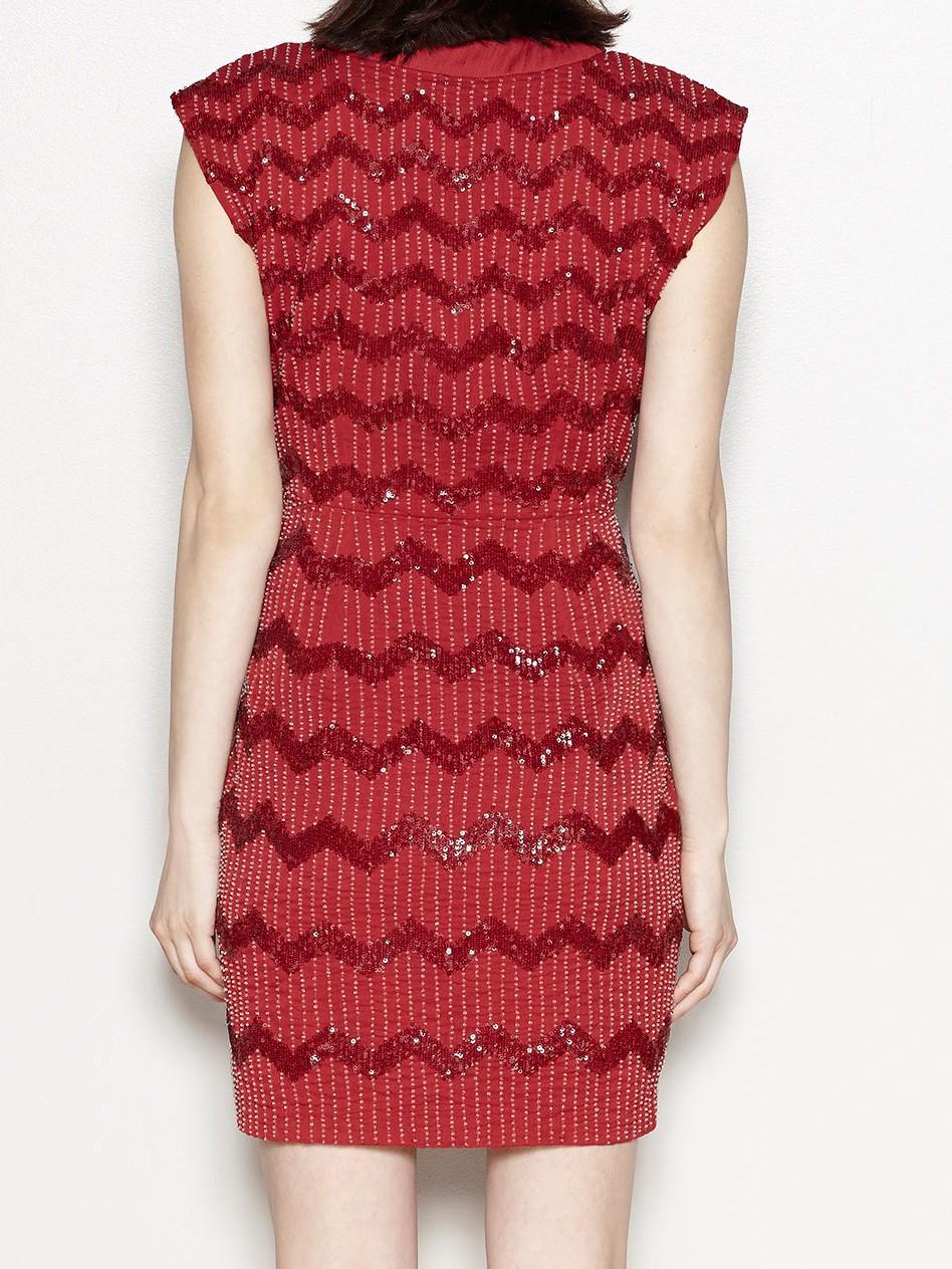 Kleid mit Zick Zack Pailletten Muster
