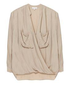 Bluse in Wickeloptik mit Metallic Details