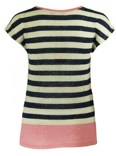 Gestreiftes Leinen T-Shirt mit Kontrasten