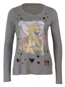 Tom & Jerry Langarm Shirt mit Wende Pailletten