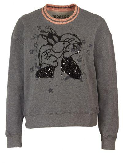 Sylvester Sweatshirt mit Kontrast Kragen