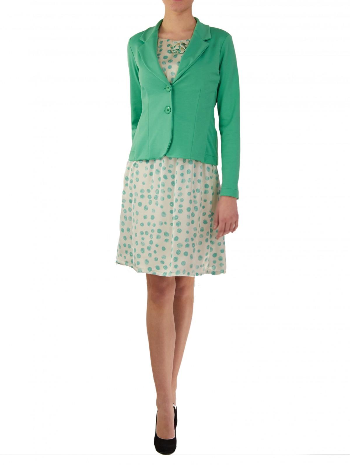 Satin Polka Dot Kleid in Grün