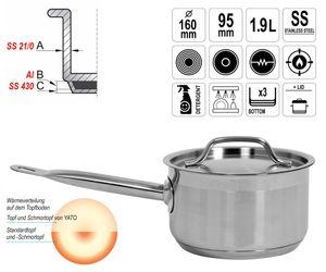 Gastronomie Qualität Edelstahl Kochtopf Schmortopf mit Deckel 16x9,5cm 1,9L Topf Gastro Induktion – Bild 1