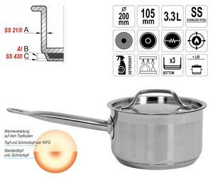 Gastronomie Qualität Edelstahl Kochtopf Schmortopf mit Deckel 20x10,5cm 3,3L Topf Gastro Induktion – Bild 1