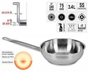 Gastronomie Qualität Edelstahl Saucenpfanne Ø 24cm 3,4L Topf Gastro Schmorpfanne Induktion – Bild 1
