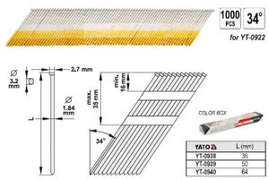 Nägel Streifennägel 34° für Druckluftnagler 38 x 1,9mm