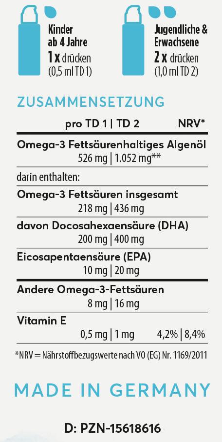 Inhaltsangaben Omega-3 liquide aus Algen kein fischöl Nature Rocket