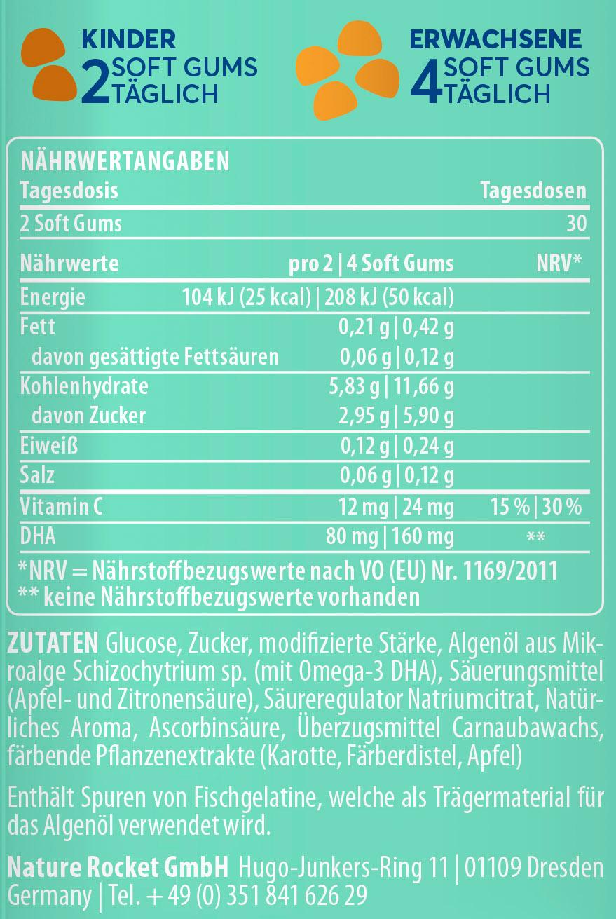 Softgum Omega-3 DHA Inhaltsstoffe