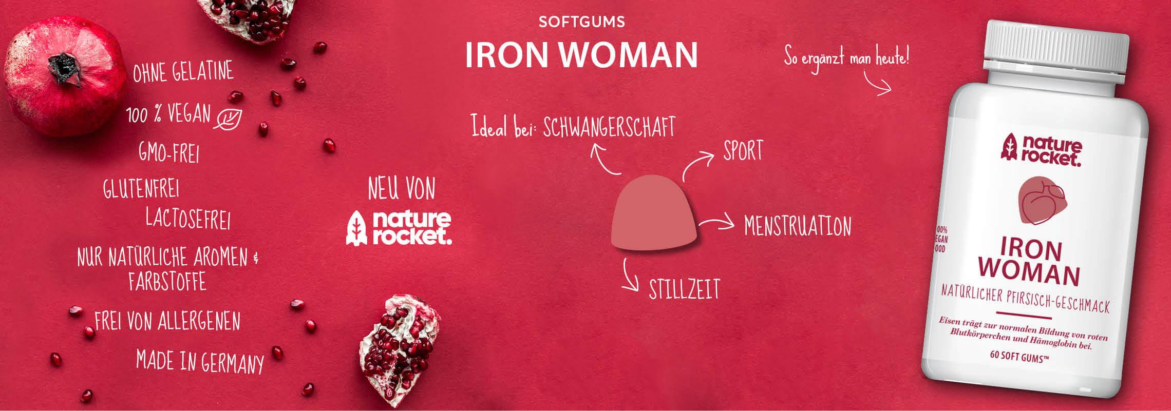 Fruchtgummis Nature Rocket mir Eisen für die Frau Iron-Woman Softgum