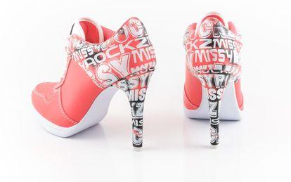 MISSY ROCKZ STREET ROCKZ bequeme Sneaker High Heels neon coral 10,5 cm Absatz – Bild 3