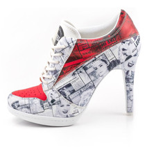 MISSY ROCKZ COVER UP bequeme High Heels im Sneakerlook weiß/ rot 10,5 cm Absatz  001
