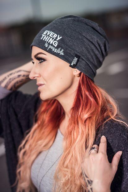 MISSY ROCKZ Beanie Mütze BAD HAIR DAY grau stylische Streetwear