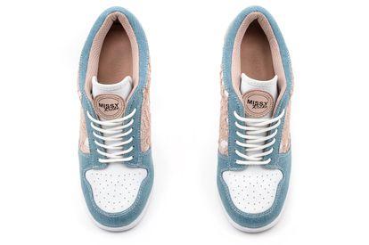 MISSY ROCKZ Sneaker High Heels Damenschuhe LOVELY CORNFLOWER nude jeans mit 10,5 cm Absatz romantisch Trendfarbe angesagte Absatzschuhe – Bild 2