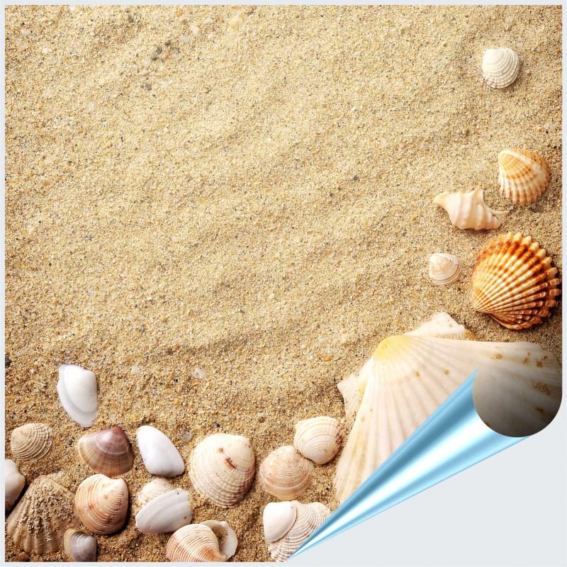 Fliesenaufkleber Motiv Muscheln im Sand 15x15 cm