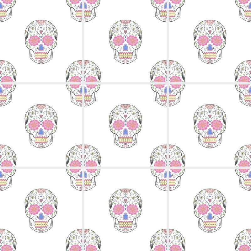 10 Fliesenaufkleber Motiv Sugar Skull 15x15 cm mit Kunststoffrakel – Bild 7