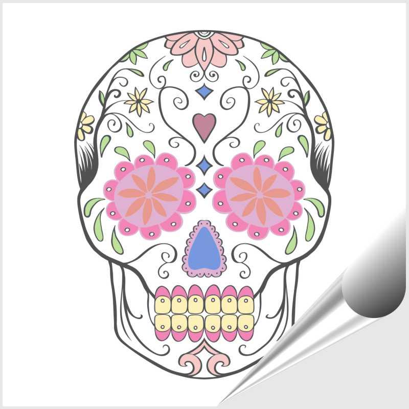 10 Fliesenaufkleber Motiv Sugar Skull 15x15 cm mit Kunststoffrakel – Bild 1