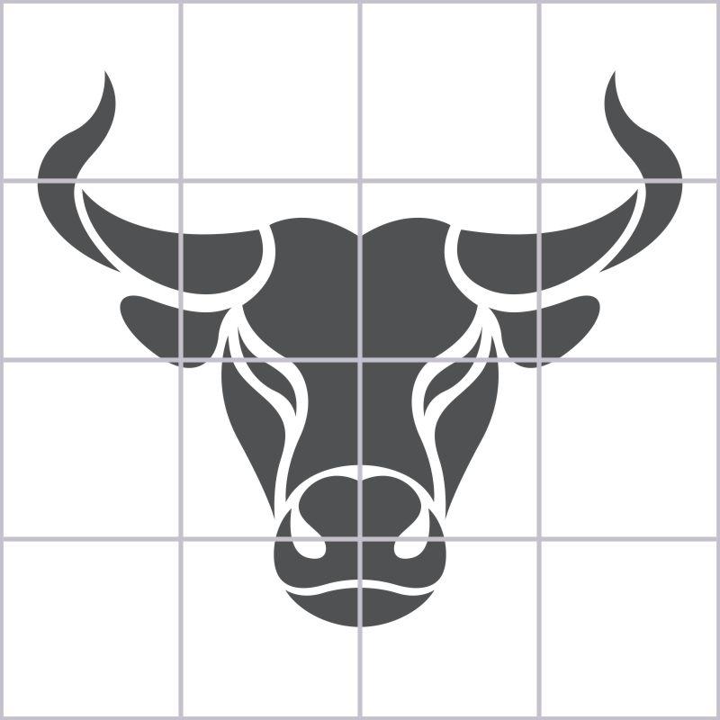 Fliesenbild Stierkopf – Bild 1
