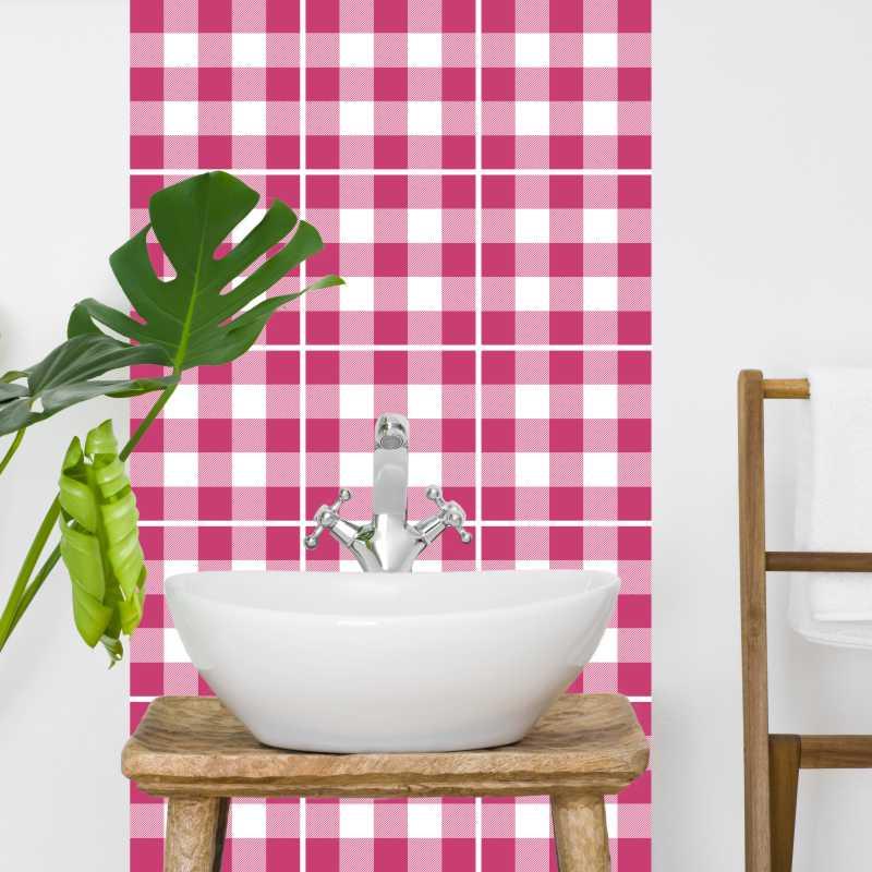 Fliesenaufkleber Mosaik Crossline Pink 15x15 cm – Bild 2