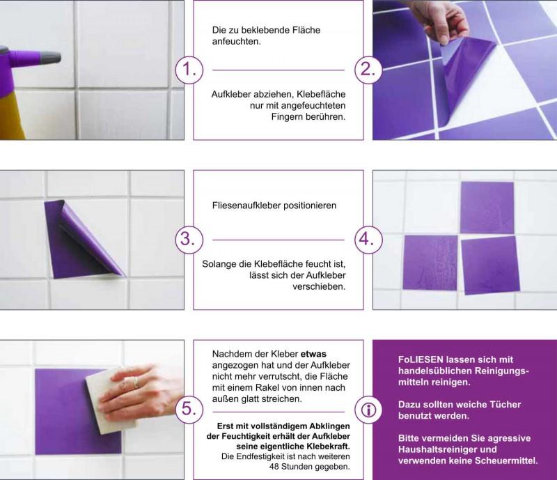 Fliesenaufkleber Violett matt 10x20 cm – Bild 3