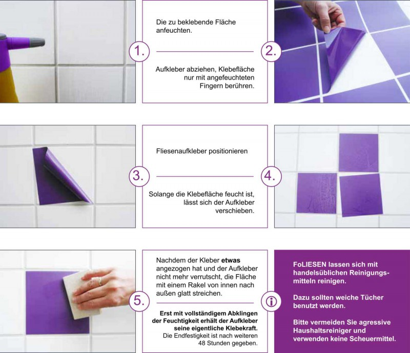 Fliesenaufkleber Purple glänzend 15x20 cm – Bild 3