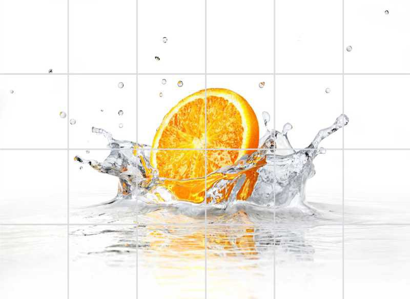 Fliesenbild Splashing Orange – Bild 1