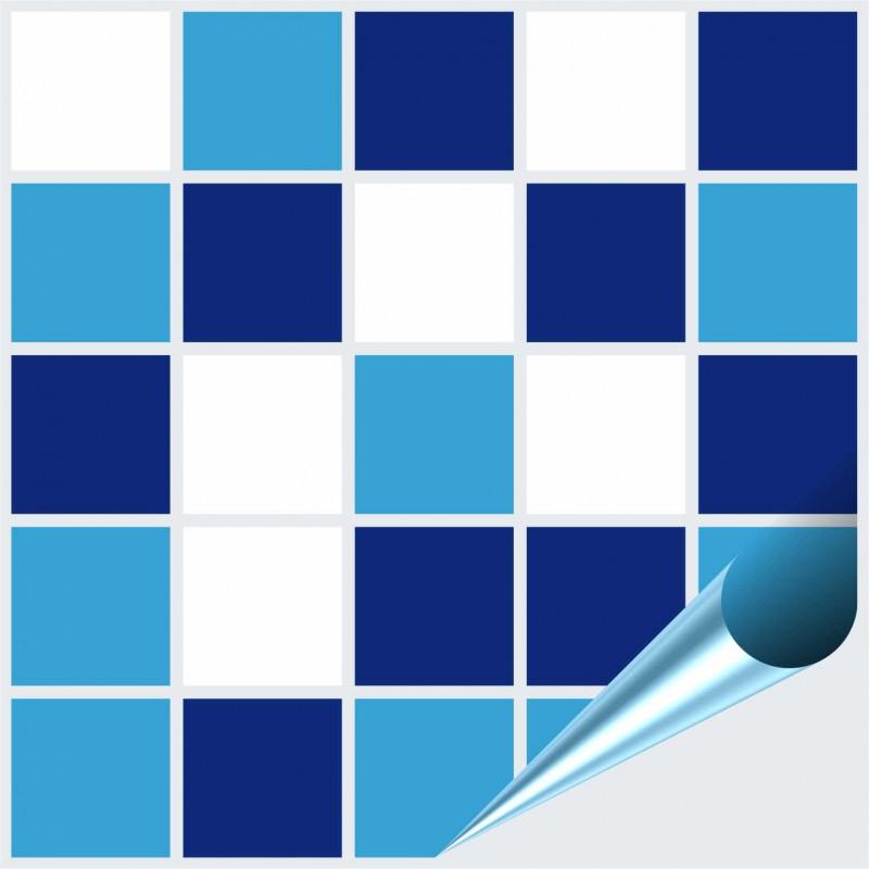Fliesenaufkleber Mosaik Blau Weiss 10x10 Cm