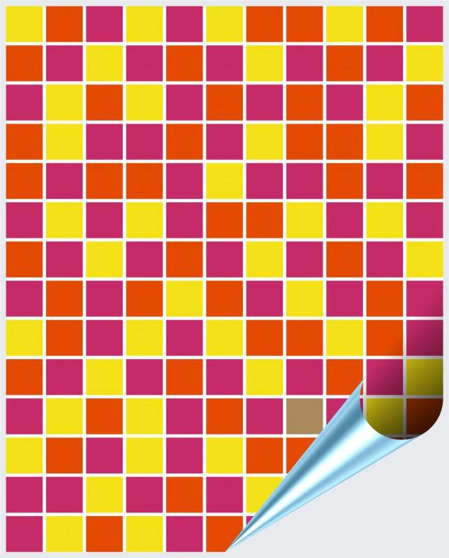 Fliesenaufkleber Mosaik pink-orange 15x20 cm – Bild 1