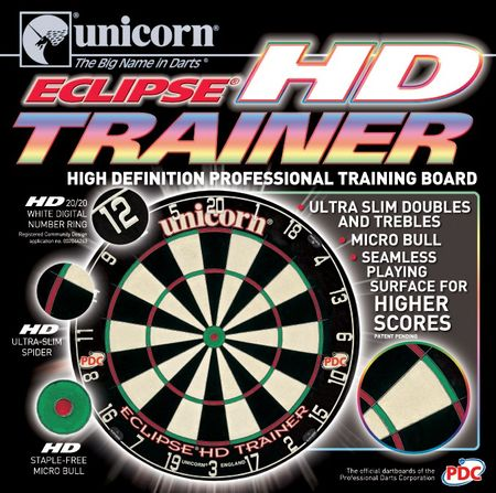 Unicorn Dartboard Eclipse HD Trainer Bristle Board Steeldart PDC Dartscheibe  – Bild 2